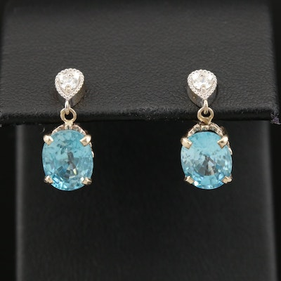 14K Blue Zircon and Diamond Drop Earrings