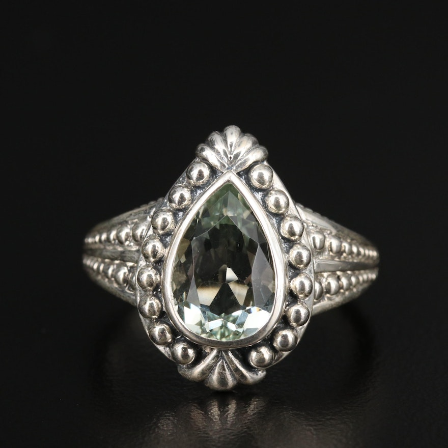 Sterling Silver Prasiolite Ring with Granulated Detailing