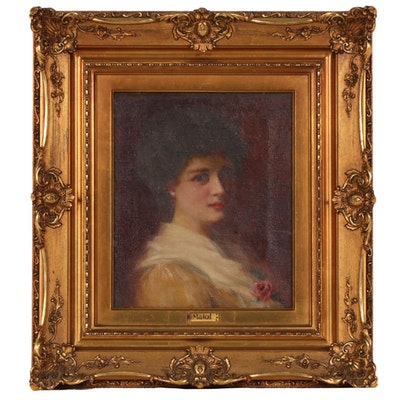Woman with Flower Portrait Oil Painting, Late 19th Century