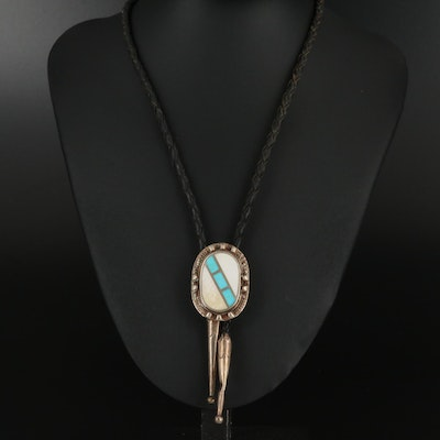 Western Sterling Silver Turquoise and Mother of Pearl Bolo Tie