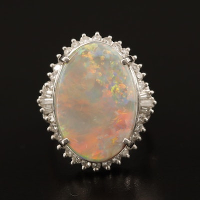 Platinum Opal Ring with Diamond Halo