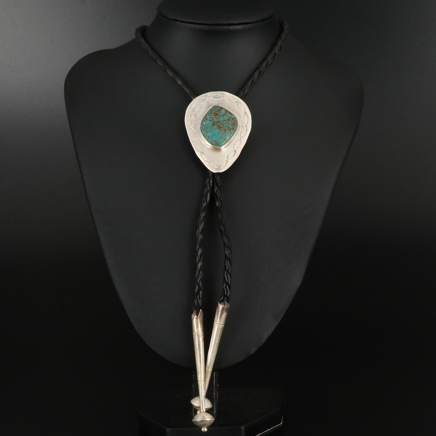 Southwestern Sterling Turquoise and Leather Bolo Tie with Stampwork