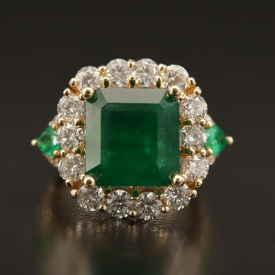 14K Emerald and 2.49 CTW Diamond Ring with 4.82 CT Center Stone