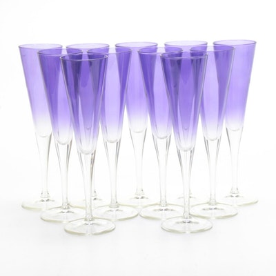 Lavender Fade to Clear Glass Champagne Flutes
