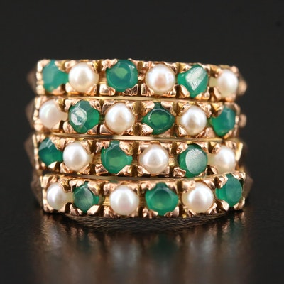 14K Gold Cultured Pearl and Green Chalcedony Stackable Ring