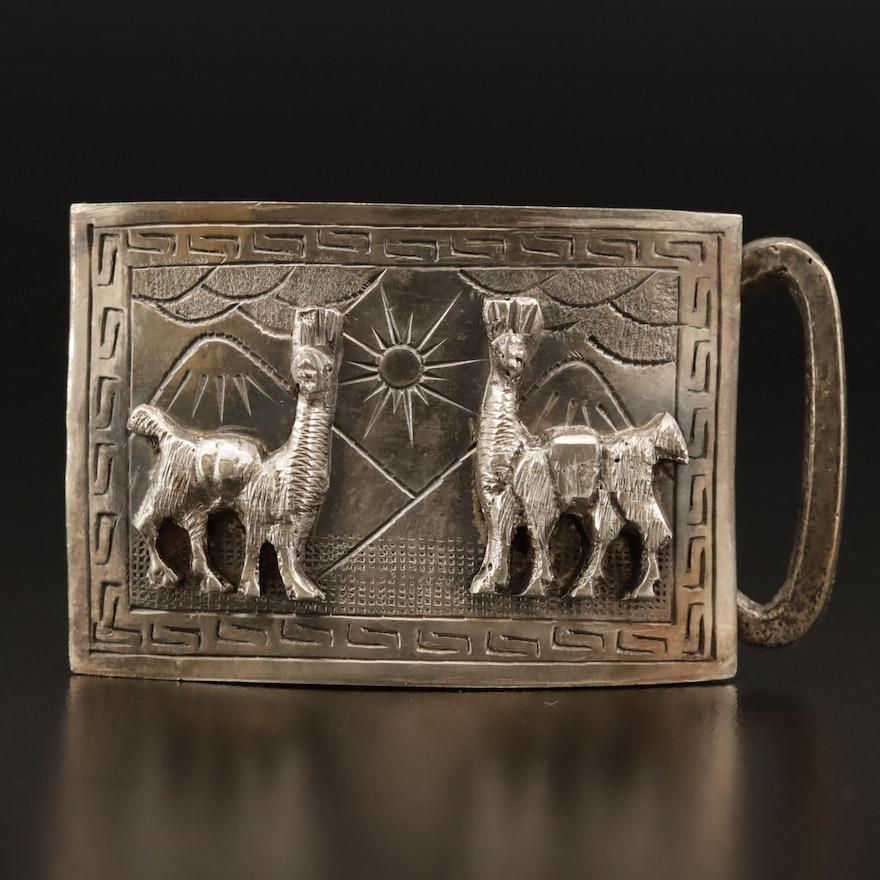 Sterling Silver Peruvian Belt Buckle with Llama Appliqué Motif