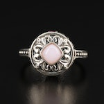 Sterling Silver Common Opal and Tourmaline Ring