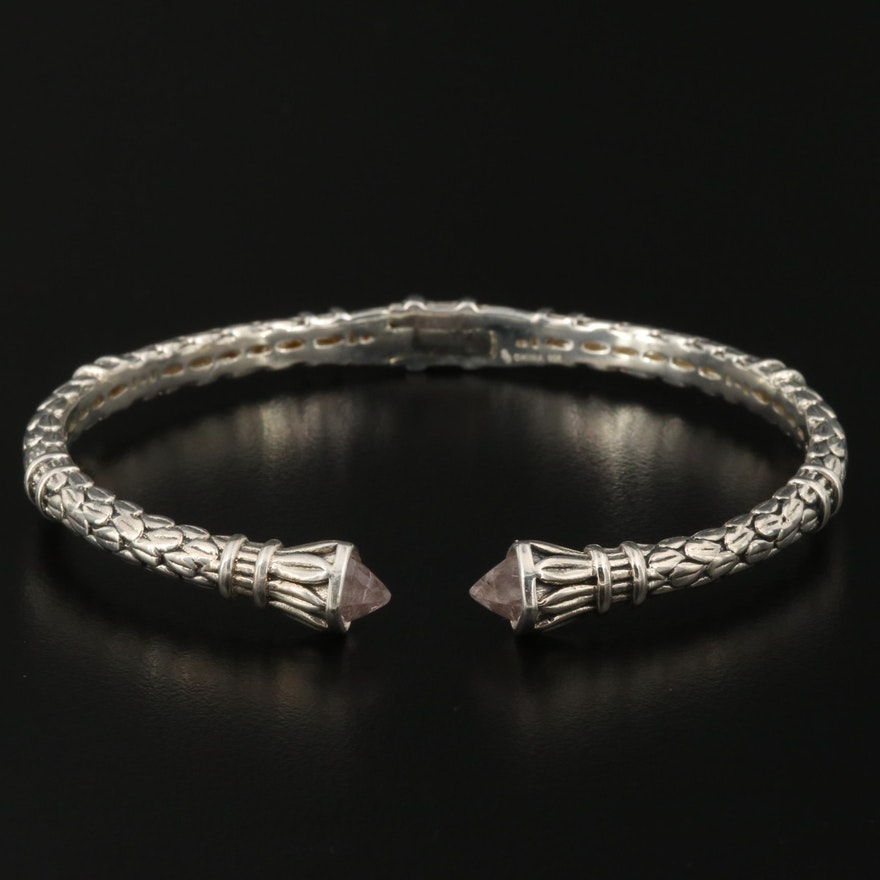 Sterling Silver Hinged Cuff with Rock Quartz Crystal Accents
