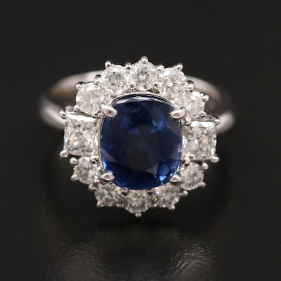 Platinum 4.93 CT Sri Lankan Sapphire and 1.54 CTW Diamond Ring with GIA Report