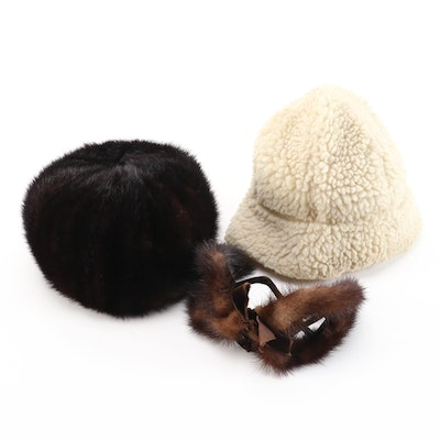 Betmar, Shillito's and Other Mink Fur and Faux Shearling Hats and Headpiece