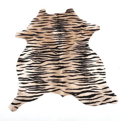 5'10 x 6'4 Tiger Printed Cowhide Area Rug