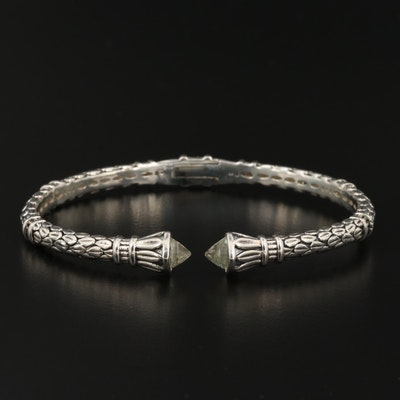 Sterling Silver Hinged Cuff Bracelet with Prasiolite End Accents