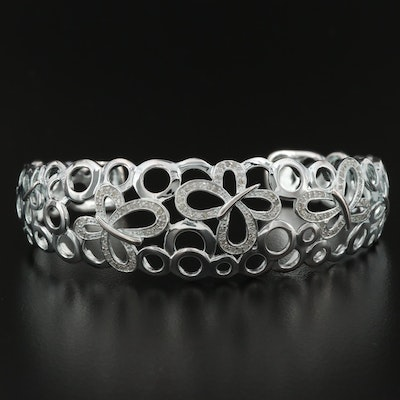 Fine Silver Diamond Cuff Bracelet with Butterfly Motif