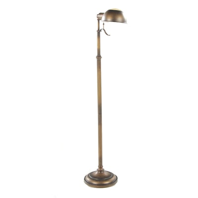 Bronze-Patinated Pharmacy Style Floor Lamp with Glass-Mounted Shade
