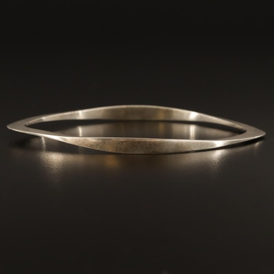 Artisan Made Forged Sterling Silver Bangle