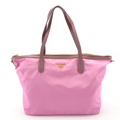 Prada Pink Nylon Tote with Saffiano Leather Trim