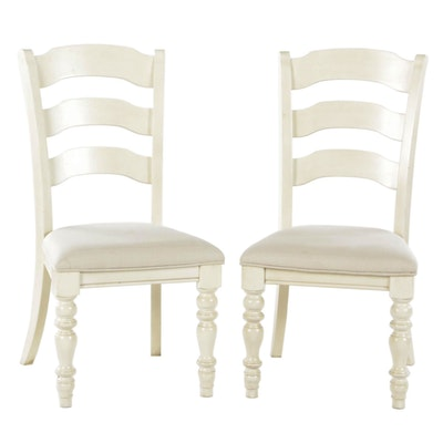 Contemporary Painted Wood Ladder Back Upholstered Side Chairs