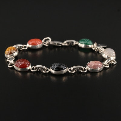 Vintage Sterling Silver Tiger's Eye, Black Onyx and Moonstone Scarab Bracelet