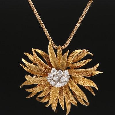 Vintage 18K 1.30 CTW Diamond Floral Converter Pendant Necklace