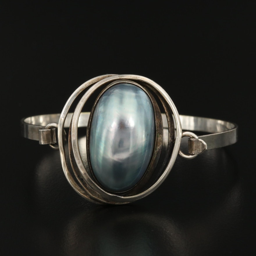 Orbital Sterling Silver and Pearl Bracelet