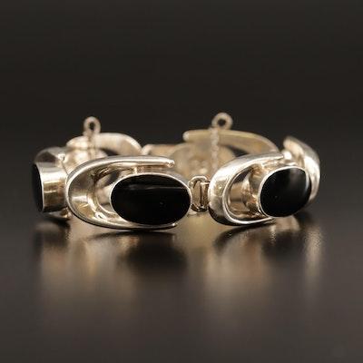 Vintage Sterling Silver Black Onyx Link Bracelet