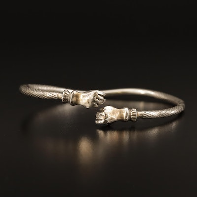 """Trinidad, West Indian Sterling Silver """"Fist"""" Bangle"""