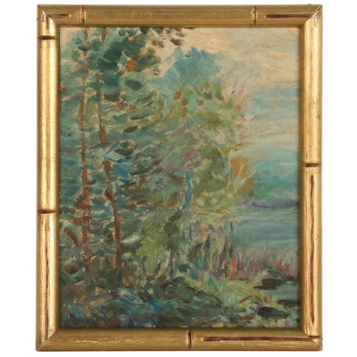 Impressionist Style Landscape Oil Painting, Mid 20th Century