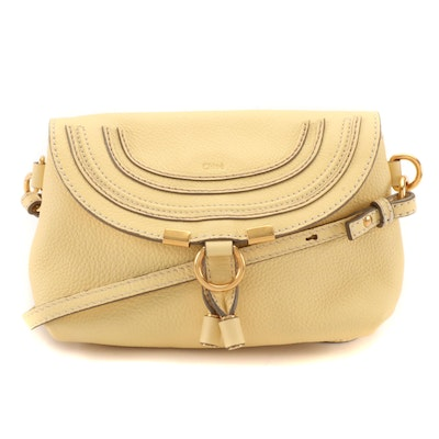 Chloé Marcie Small Flap Convertible Clutch in Pale Yellow Pebbled Leather