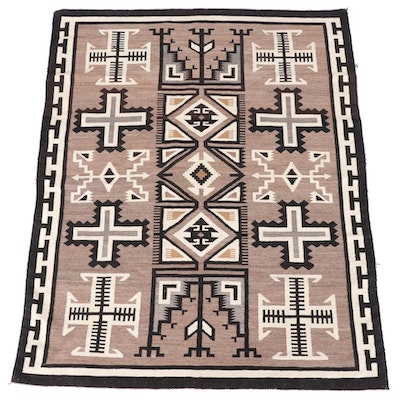 "5'0 x 6'4 Navajo Eastern Reservation ""Two Grey Hills"" Rug"