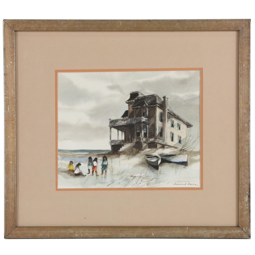 Robert Fabe Watercolor Painting Beach Scene with Figures, Mid 20th Century