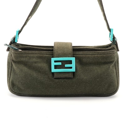 Fendi Dark Olive Green Cotton Baguette with Light Blue Resin Logo Accent