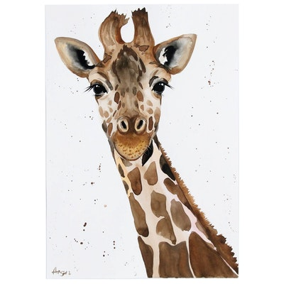 "Anne Gorywine Watercolor Painting ""Giraffe"", 2020"