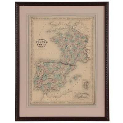 """Lithographic Map after Alvin Jewett Johnson """"France, Spain, and Portugal"""""""