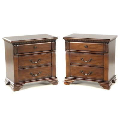 Furniture Fair Contemporary Walnut Chest of Drawer Nightstands