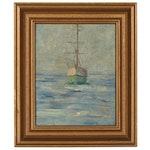 Sailboat at Sea Nautical Oil Painting