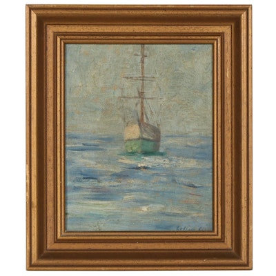 Sailboat at Sea Nautical Oil Painting
