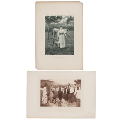 Photogravures after Alfred Roll and Erik Werenskiold, Late 19th Century