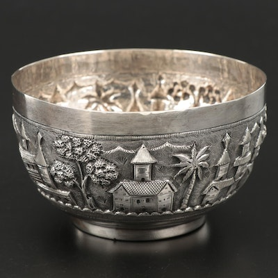 French Sterling Silver Scenic Repoussé Bowl