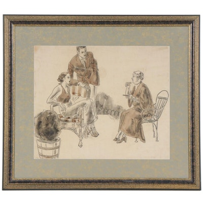 Couple and Woman Conversing Watercolor Sketch, Mid 20th Century