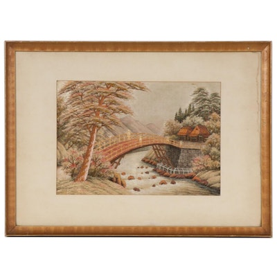 East Asian Hand-Embroidered Silk Panel of Riverside Village Scene with Bridge