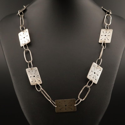 Sterling Silver Pierced and Hammered Link Endless Necklace