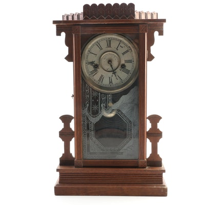 Eastlake Victorian Walnut Mantle Clock, Late 19th Century