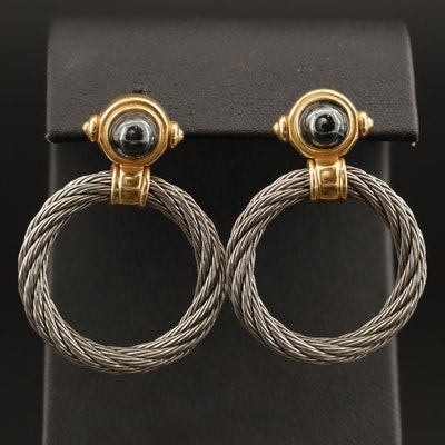 18K Hematite Cable Earrings