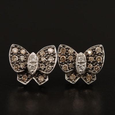 14K Diamond Butterfly Earrings