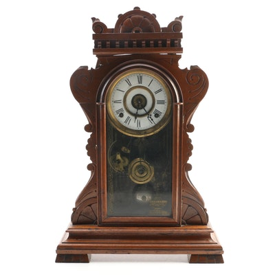 F. Kroeber Clock Company Carved Walnut Mantle Clock, Late 19th Century