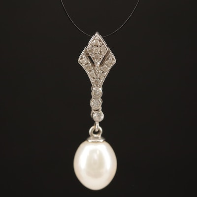 14K Pearl and Diamond Drop Pendant
