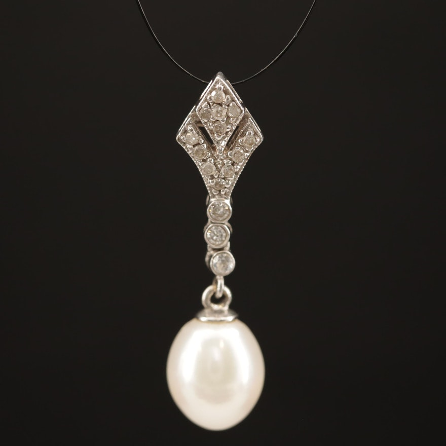 14K Pearl and Diamond Drop Pendant