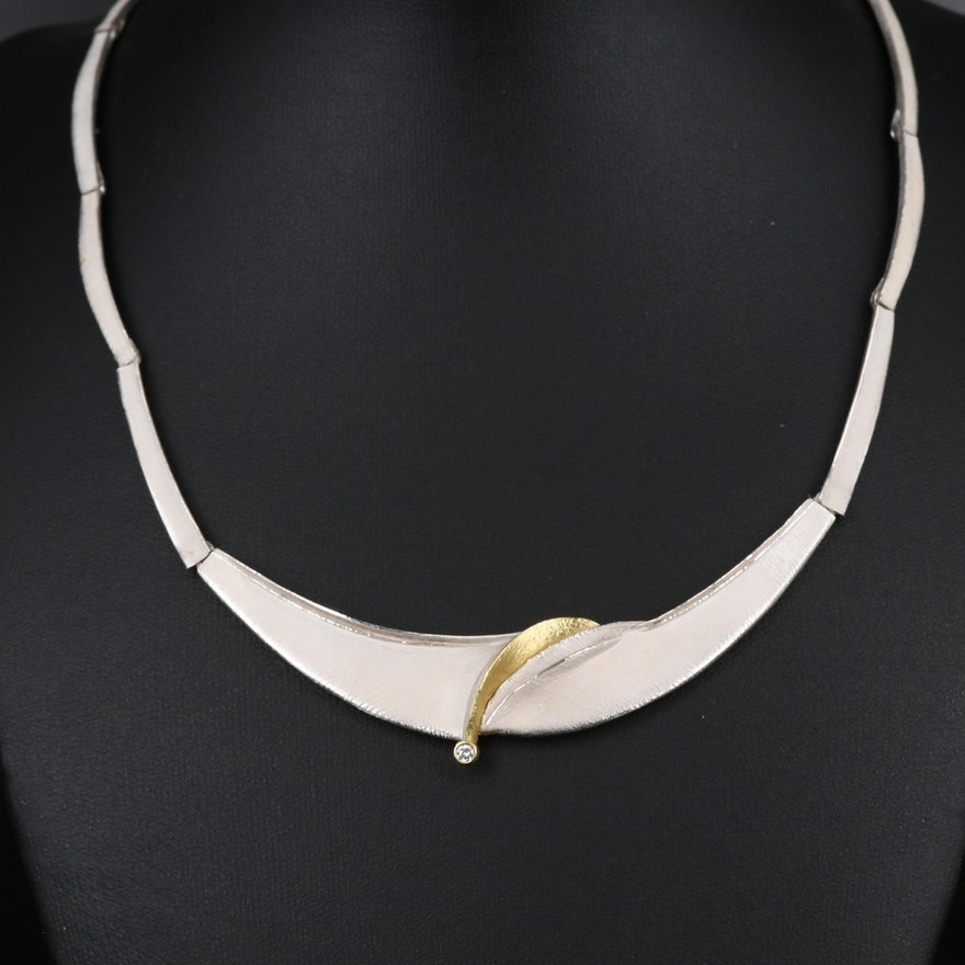 Sterling Silver Diamond Collar Necklace