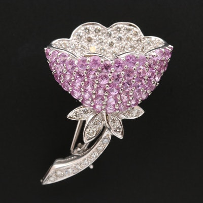 18K Pink Sapphire and 1.25 CTW Diamond Flower Fur Pin