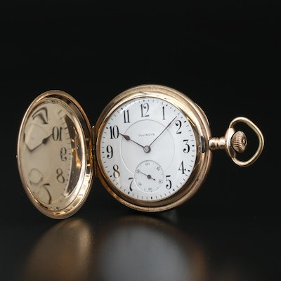 1917 Illinois Gold Filled Pocket Watch with Double Sunk Dial